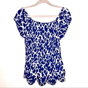 NWT! Dressbarn Tropic Isl blue and white blouse.